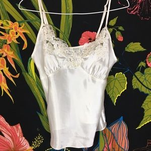 🗝 3for25 VINTAGE / WHITE LACE SILKY CAMISOLE